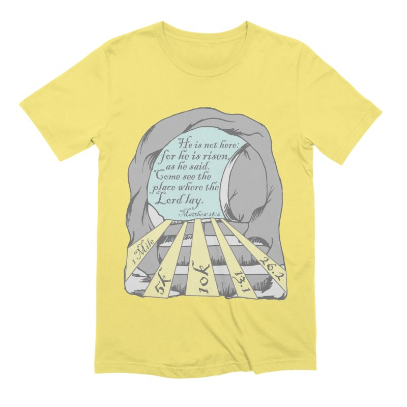 He Is Risen 1 Mile, 5K, 10K, 13.1, 26.2 Men's Extra Soft T-Shirt by moonjoggers's Artist Shop