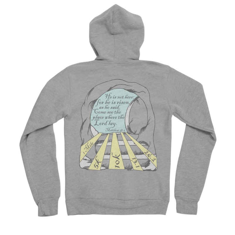 He Is Risen 1 Mile, 5K, 10K, 13.1, 26.2 Men's Sponge Fleece Zip-Up Hoody by moonjoggers's Artist Shop