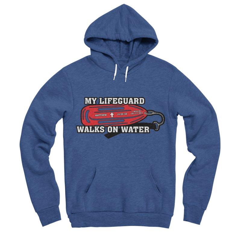 My Lifeguard Walks on Water 1 Mile, 5K, 10K, 13.1, 26.2 Men's Sponge Fleece Pullover Hoody by moonjoggers's Artist Shop