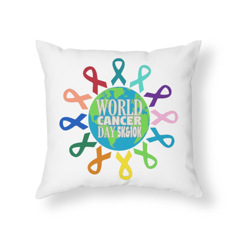 World Cancer Day 5K & 10K Home Throw Pillow by moonjoggers's Artist Shop