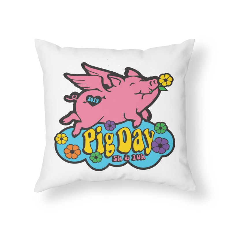 Pig Day 5K & 10K Home Throw Pillow by moonjoggers's Artist Shop