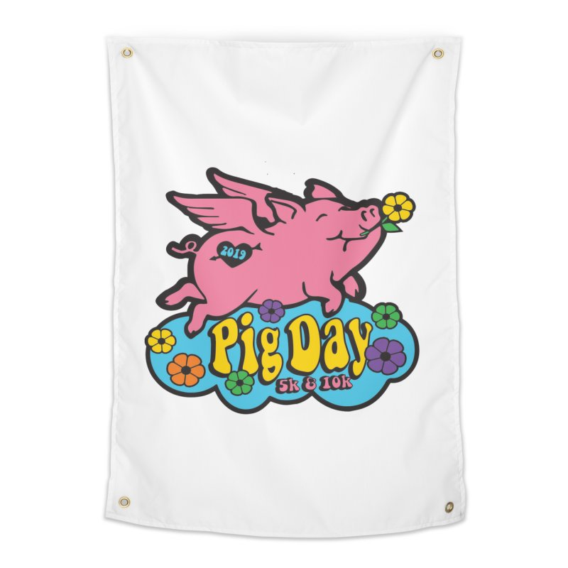 Pig Day 5K & 10K Home Tapestry by moonjoggers's Artist Shop