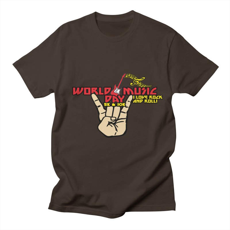 World Music Day 5K & 10K in Men's Regular T-Shirt Chocolate by Moon Joggers's Artist Shop