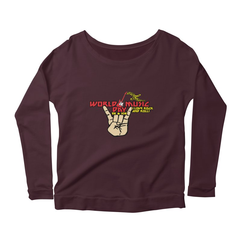 World Music Day 5K & 10K Women's Scoop Neck Longsleeve T-Shirt by moonjoggers's Artist Shop