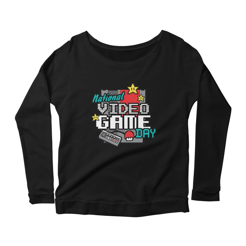 National Video Game Day Women's Scoop Neck Longsleeve T-Shirt by moonjoggers's Artist Shop