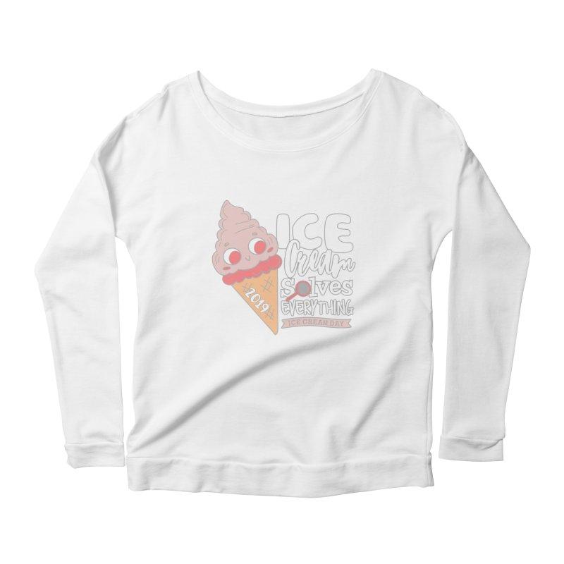 Ice Cream Day Women's Scoop Neck Longsleeve T-Shirt by moonjoggers's Artist Shop