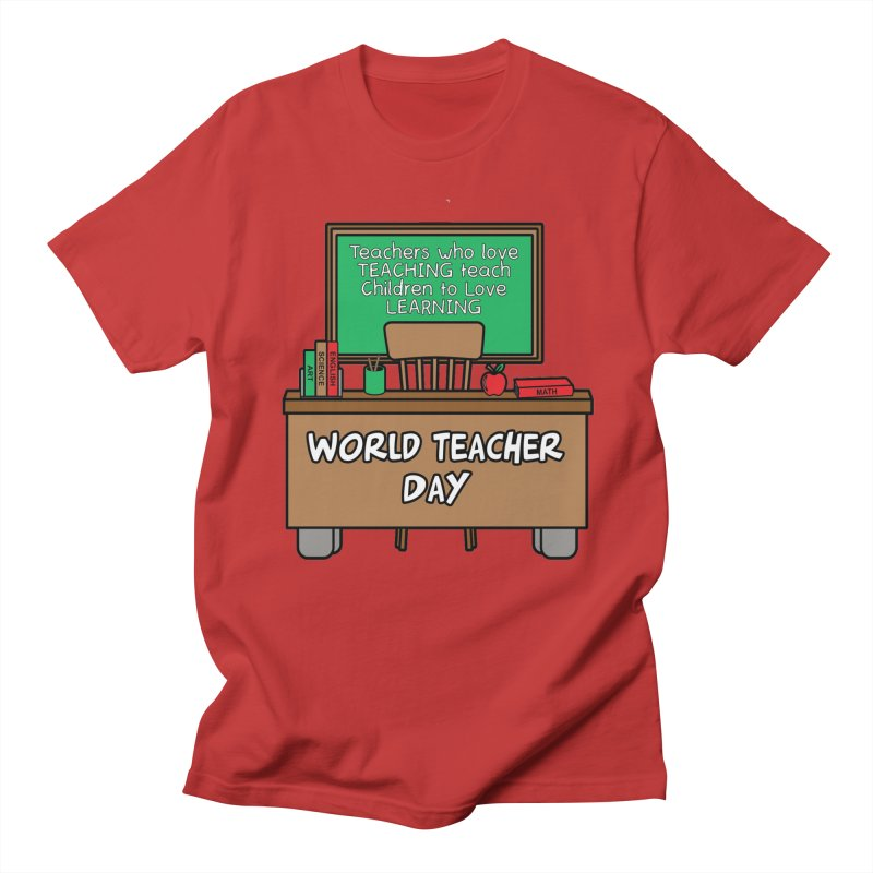 World Teacher Day in Men's Regular T-Shirt Red by Moon Joggers's Artist Shop