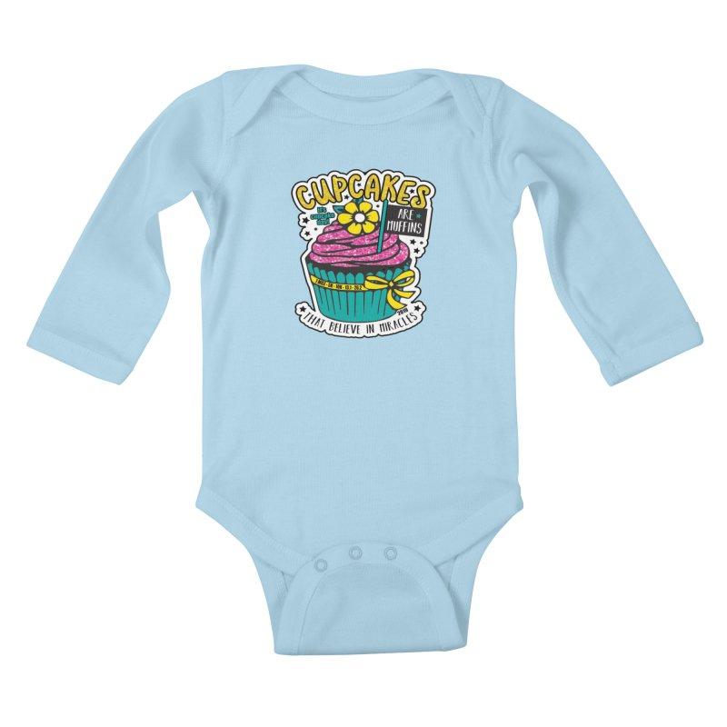 Cupcake Day Kids Baby Longsleeve Bodysuit by moonjoggers's Artist Shop