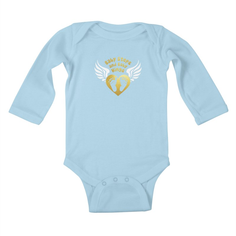 Baby Steps and Baby Wings Kids Baby Longsleeve Bodysuit by Moon Joggers's Artist Shop