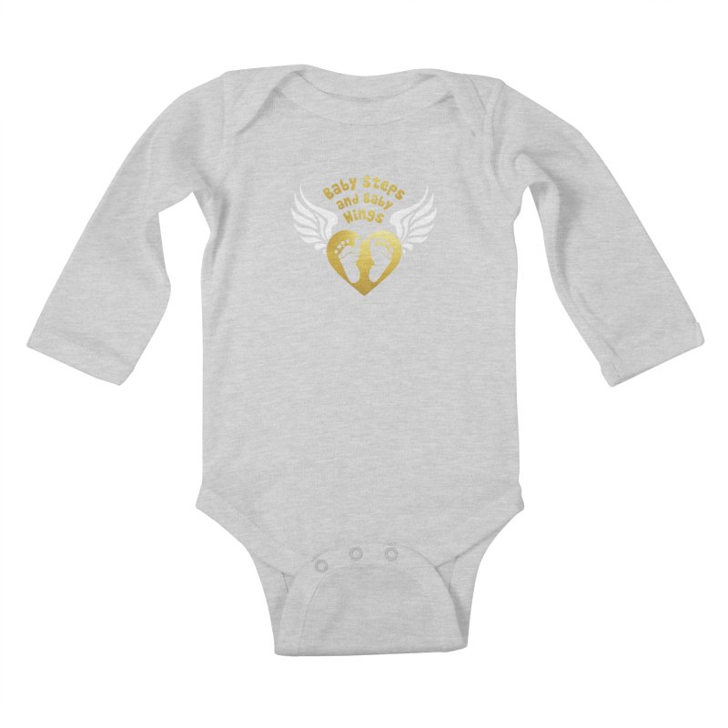 Baby Steps and Baby Wings Kids Baby Longsleeve Bodysuit by moonjoggers's Artist Shop