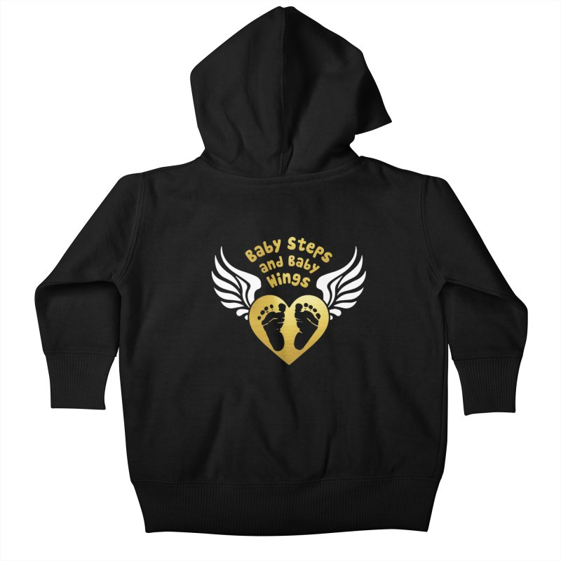 Baby Steps and Baby Wings Kids Baby Zip-Up Hoody by Moon Joggers's Artist Shop