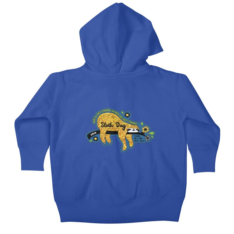 Sloth Day Kids Baby Zip-Up Hoody by Moon Joggers's Artist Shop