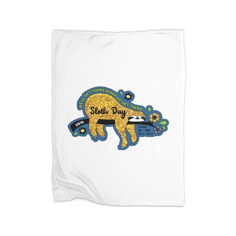 Sloth Day Home Fleece Blanket Blanket by Moon Joggers's Artist Shop