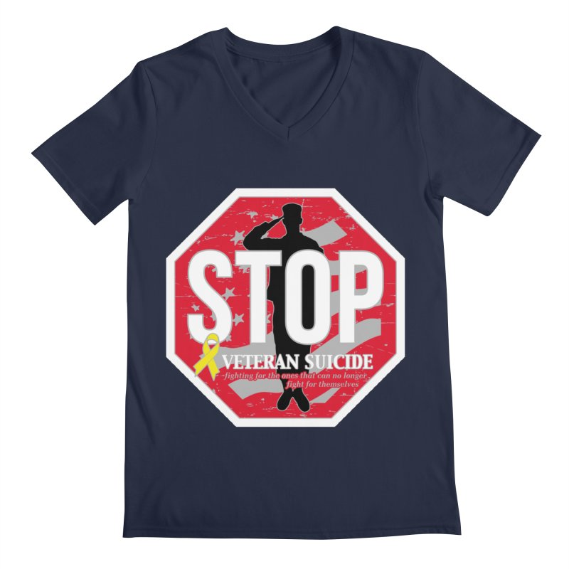 Stop Veteran Suicide Men's Regular V-Neck by Moon Joggers's Artist Shop