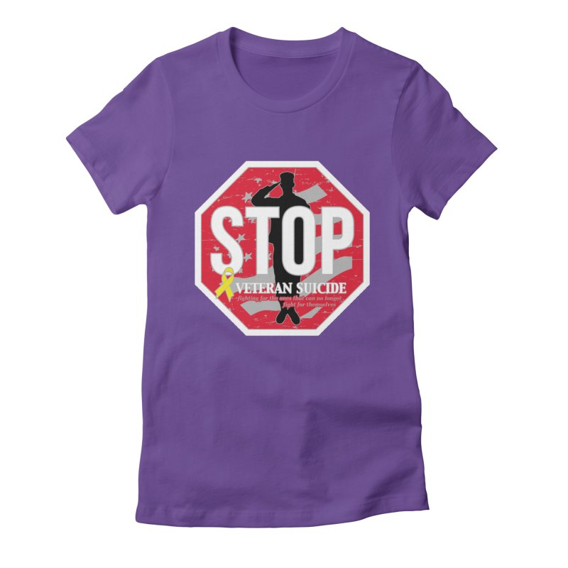 Stop Veteran Suicide Women's Fitted T-Shirt by Moon Joggers's Artist Shop