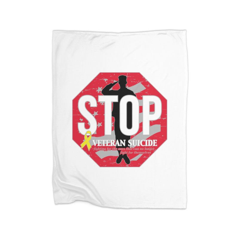 Stop Veteran Suicide Home Fleece Blanket Blanket by Moon Joggers's Artist Shop