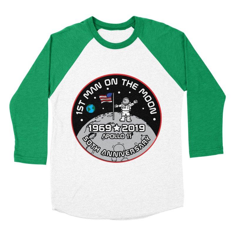 50th Anniversary of First Man Landing on the Moon Men's Baseball Triblend Longsleeve T-Shirt by Moon Joggers's Artist Shop