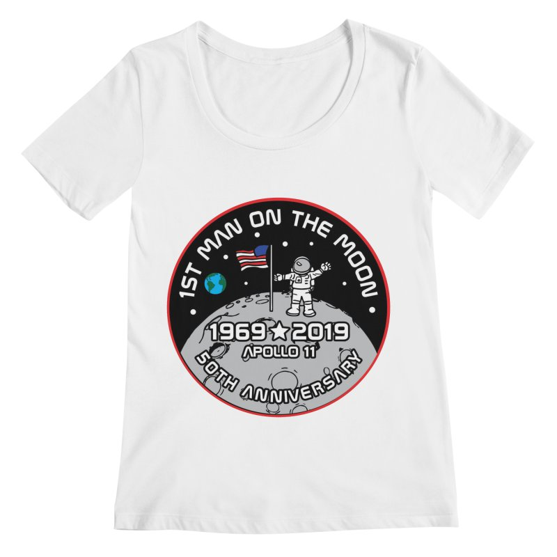 50th Anniversary of First Man Landing on the Moon Women's Regular Scoop Neck by Moon Joggers's Artist Shop