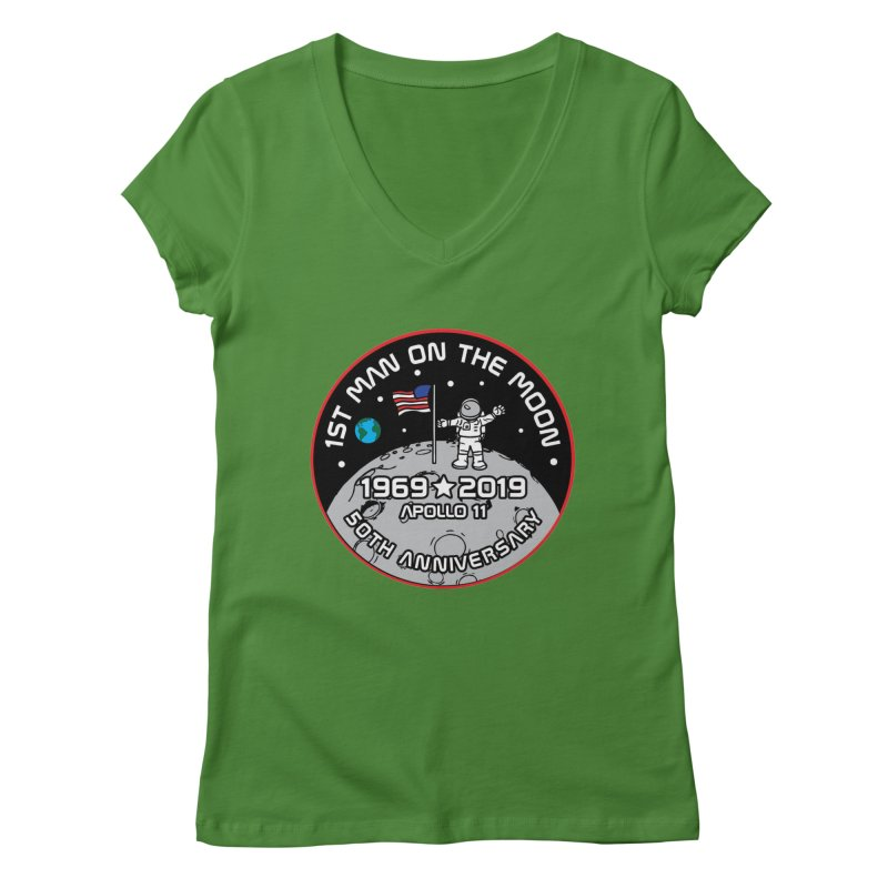 50th Anniversary of First Man Landing on the Moon Women's Regular V-Neck by Moon Joggers's Artist Shop
