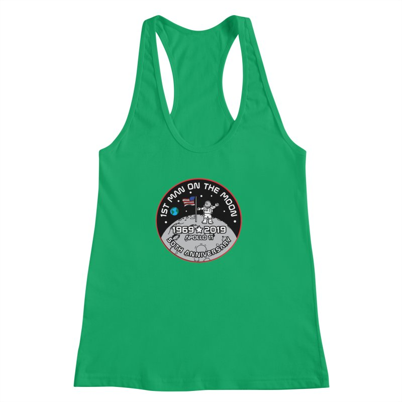 50th Anniversary of First Man Landing on the Moon Women's Racerback Tank by Moon Joggers's Artist Shop