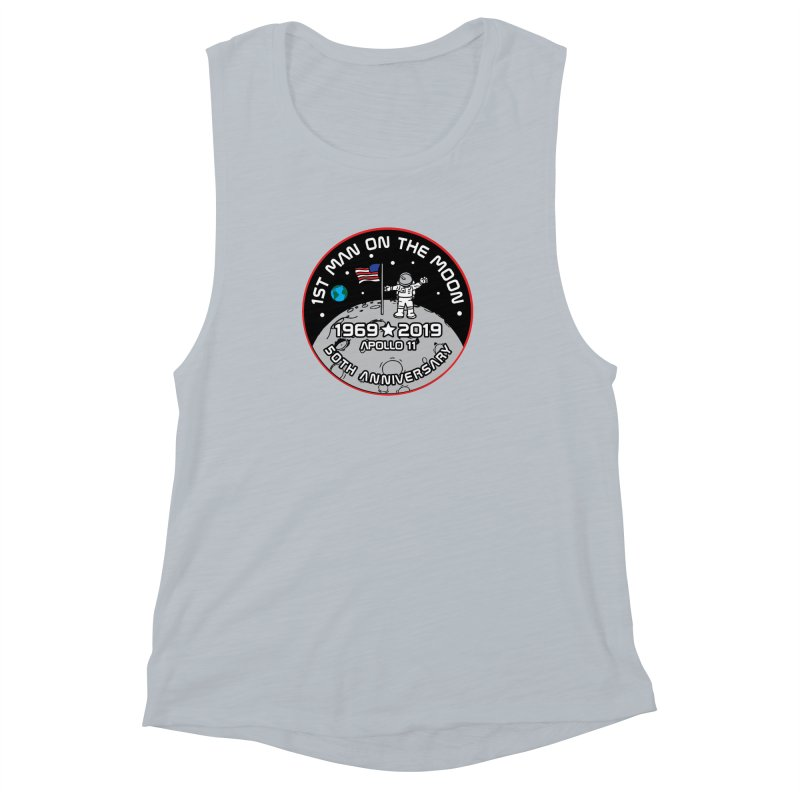 50th Anniversary of First Man Landing on the Moon Women's Muscle Tank by Moon Joggers's Artist Shop