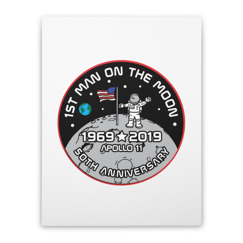 50th Anniversary of First Man Landing on the Moon Home Stretched Canvas by Moon Joggers's Artist Shop