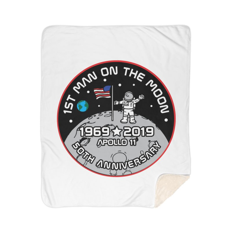 50th Anniversary of First Man Landing on the Moon Home Sherpa Blanket Blanket by Moon Joggers's Artist Shop