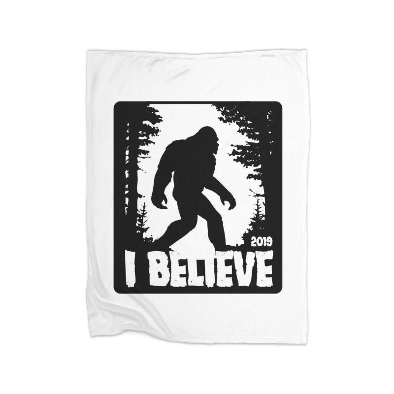 I Believe!  (Bigfoot) Home Fleece Blanket Blanket by Moon Joggers's Artist Shop