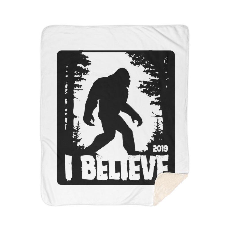 I Believe!  (Bigfoot) Home Sherpa Blanket Blanket by Moon Joggers's Artist Shop