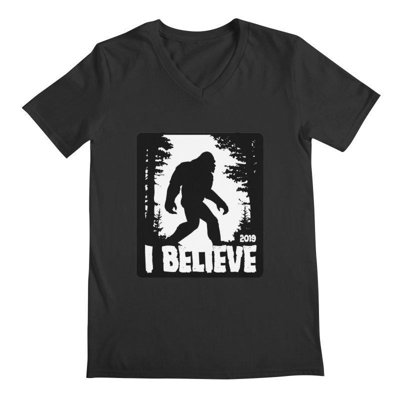 I Believe!  (Bigfoot) Men's Regular V-Neck by Moon Joggers's Artist Shop