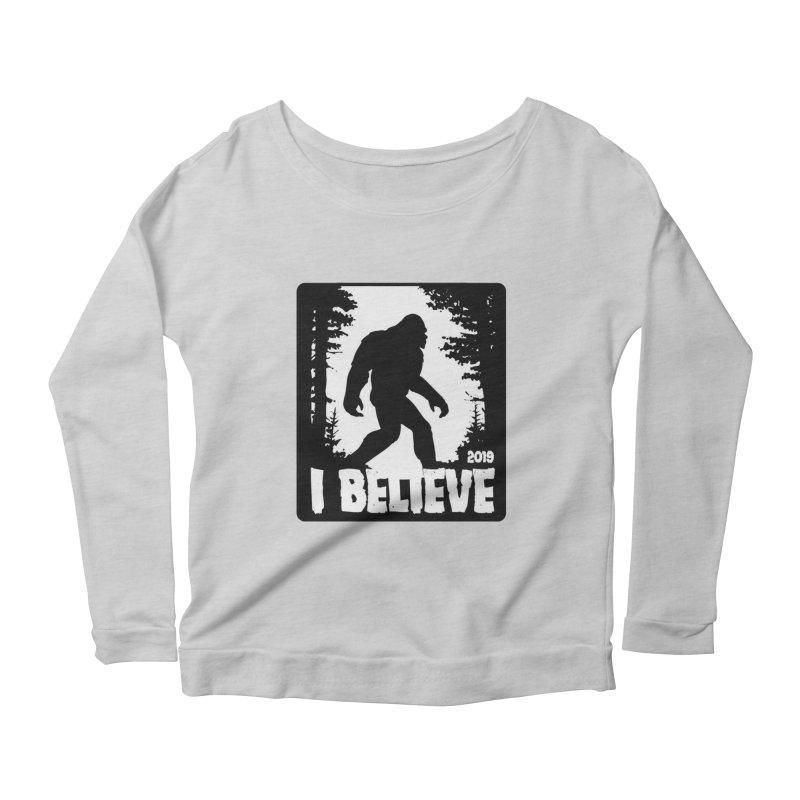 I Believe!  (Bigfoot) Women's Scoop Neck Longsleeve T-Shirt by Moon Joggers's Artist Shop
