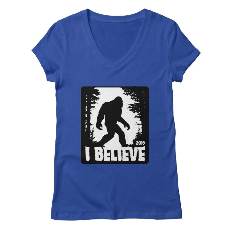 I Believe!  (Bigfoot) Women's Regular V-Neck by Moon Joggers's Artist Shop