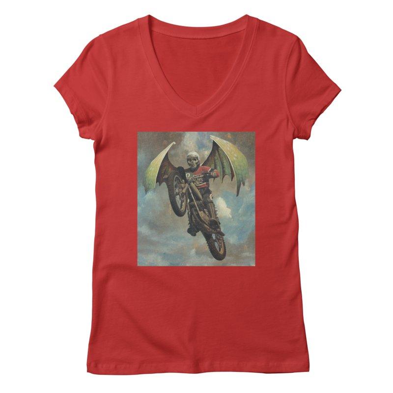 Moto-Reaper Women's Regular V-Neck by Moon Patrol