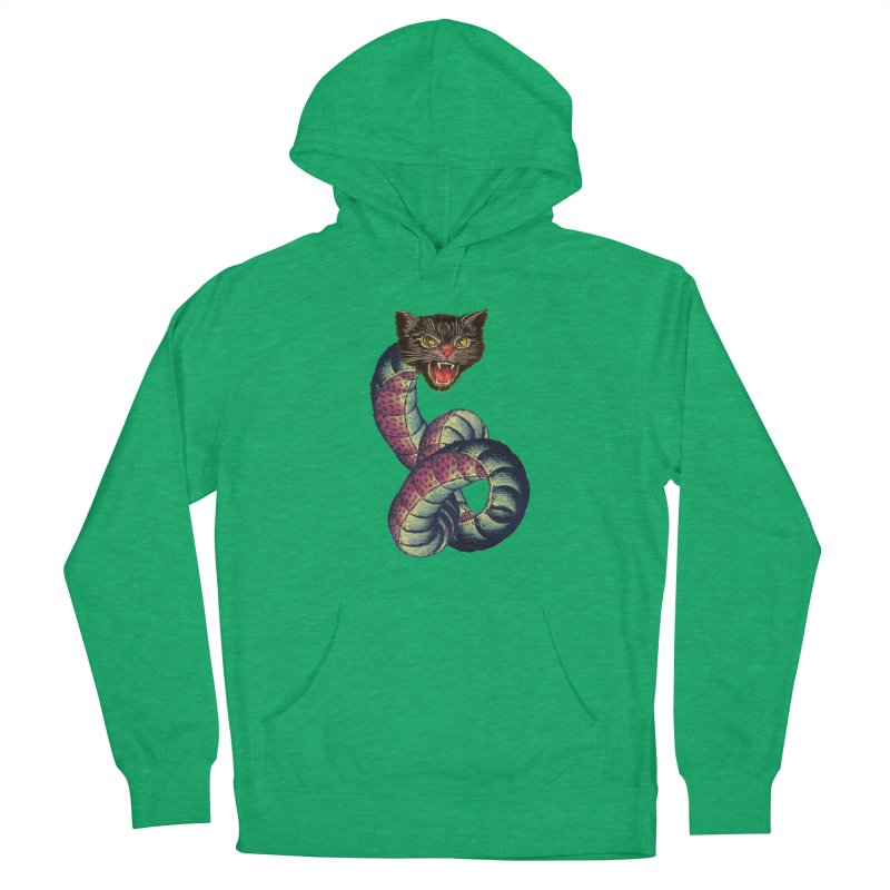 Snake-Cat Women's French Terry Pullover Hoody by Moon Patrol