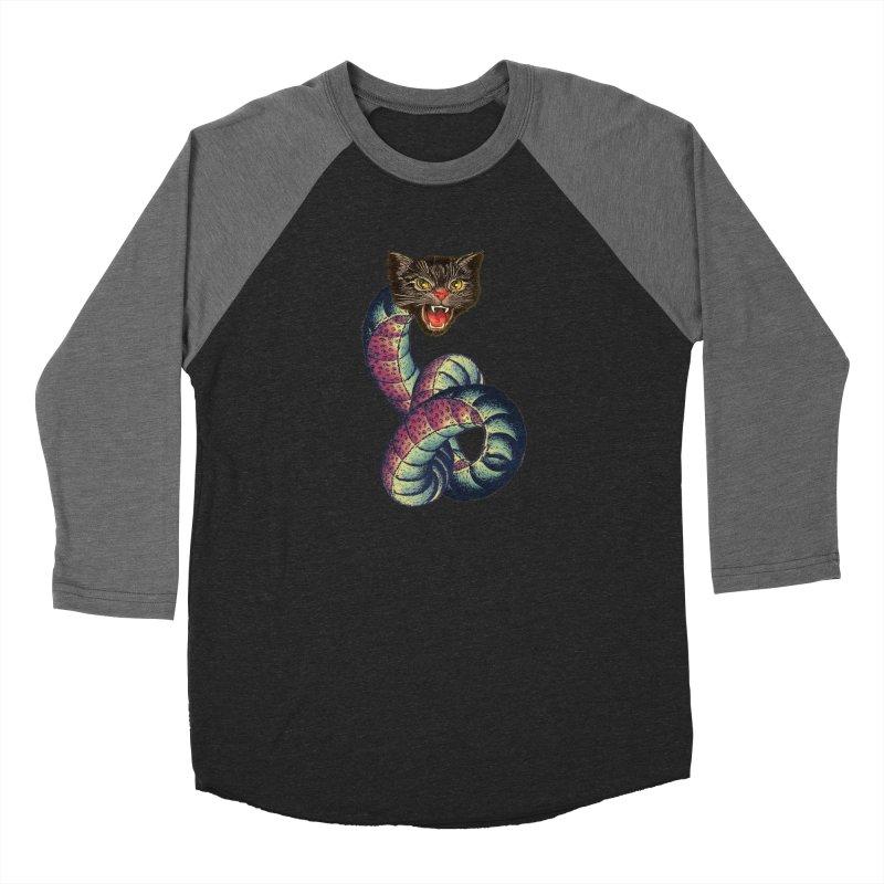 Snake-Cat Men's Baseball Triblend Longsleeve T-Shirt by Moon Patrol