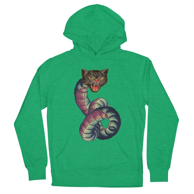 Snake-Cat Men's French Terry Pullover Hoody by Moon Patrol