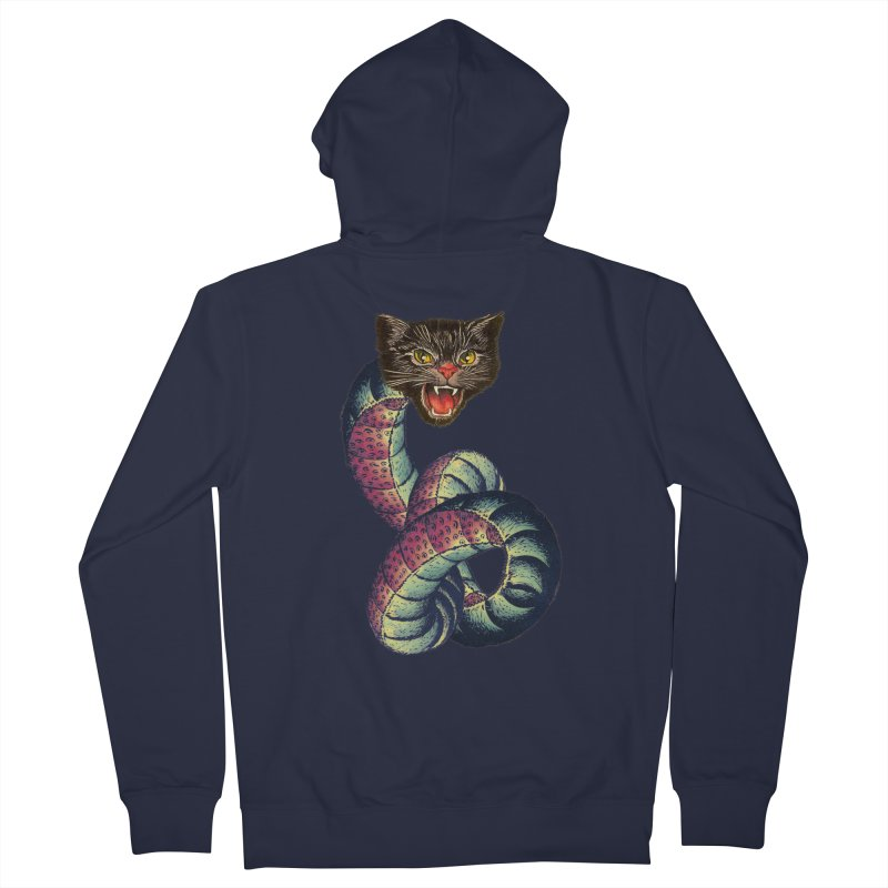 Snake-Cat Men's French Terry Zip-Up Hoody by Moon Patrol