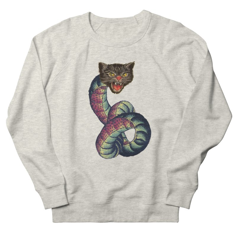 Snake-Cat Women's French Terry Sweatshirt by Moon Patrol