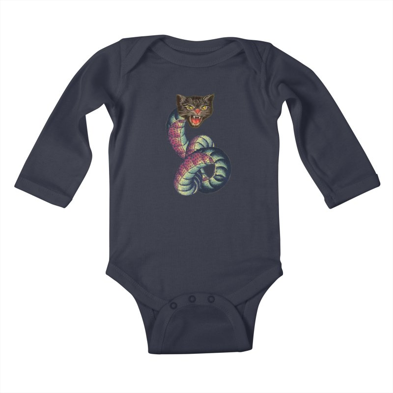 Snake-Cat Kids Baby Longsleeve Bodysuit by Moon Patrol