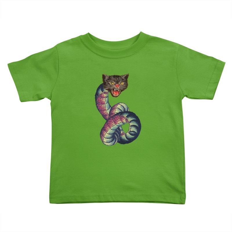 Snake-Cat Kids Toddler T-Shirt by Moon Patrol