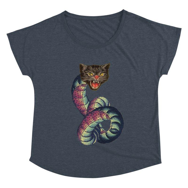 Snake-Cat Women's Dolman Scoop Neck by Moon Patrol
