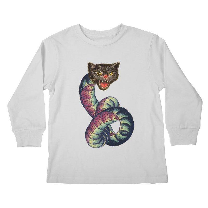 Snake-Cat Kids Longsleeve T-Shirt by Moon Patrol