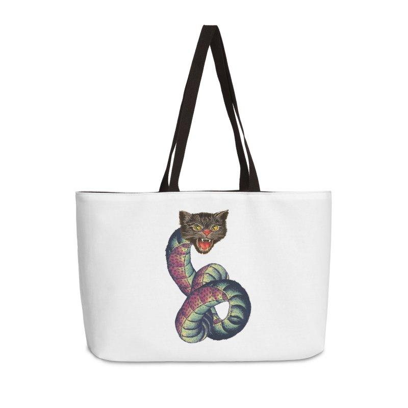 Snake-Cat Accessories Weekender Bag Bag by Moon Patrol