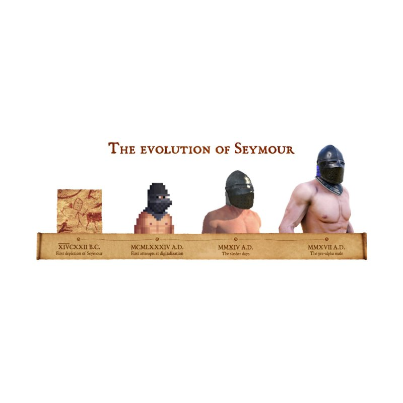 Evolution of Seymour mug by Mordhau Merchandise