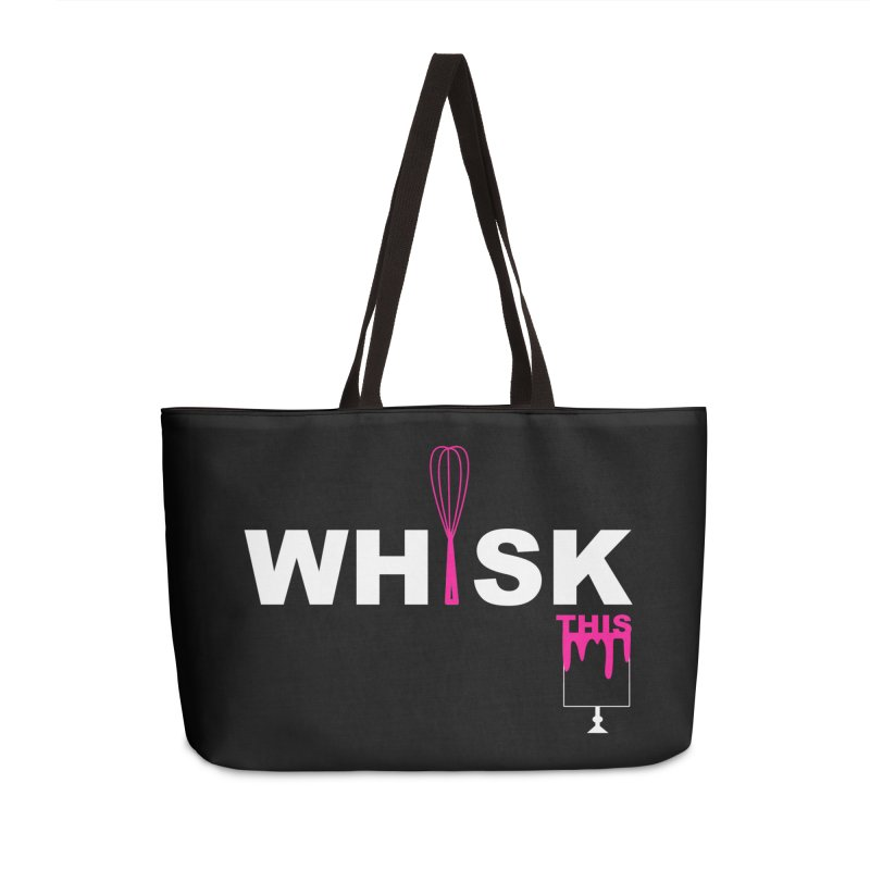 WHISK THIS (Wht & Pink) in Weekender Bag by More Cake?