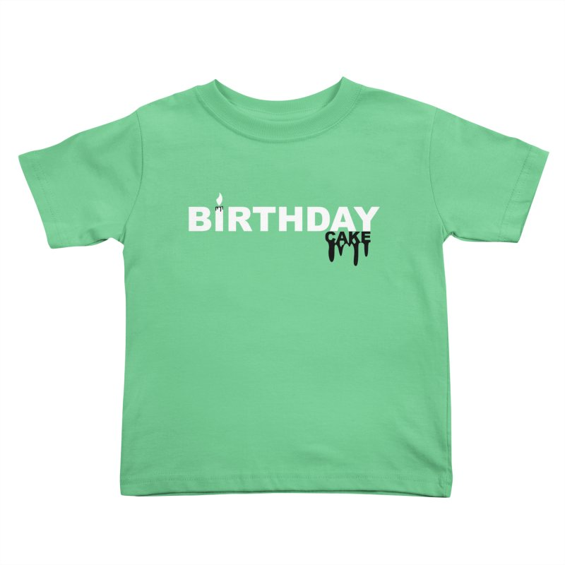 BIRTHDAY CAKE (Wht & Blk) Kids Toddler T-Shirt by More Cake?