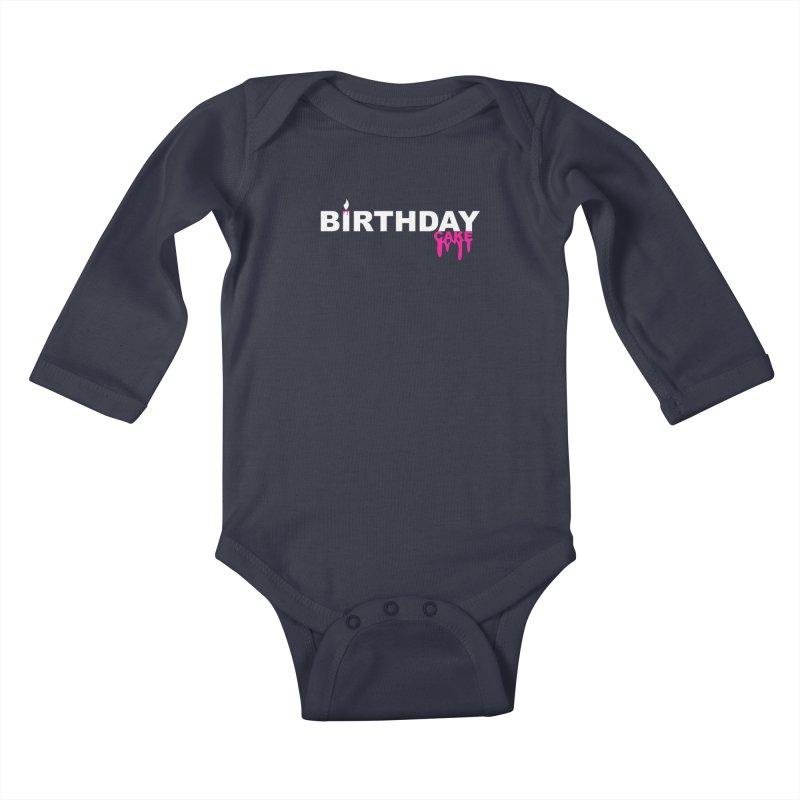 BIRTHDAY CAKE (Wht & Pnk) Kids Baby Longsleeve Bodysuit by More Cake?