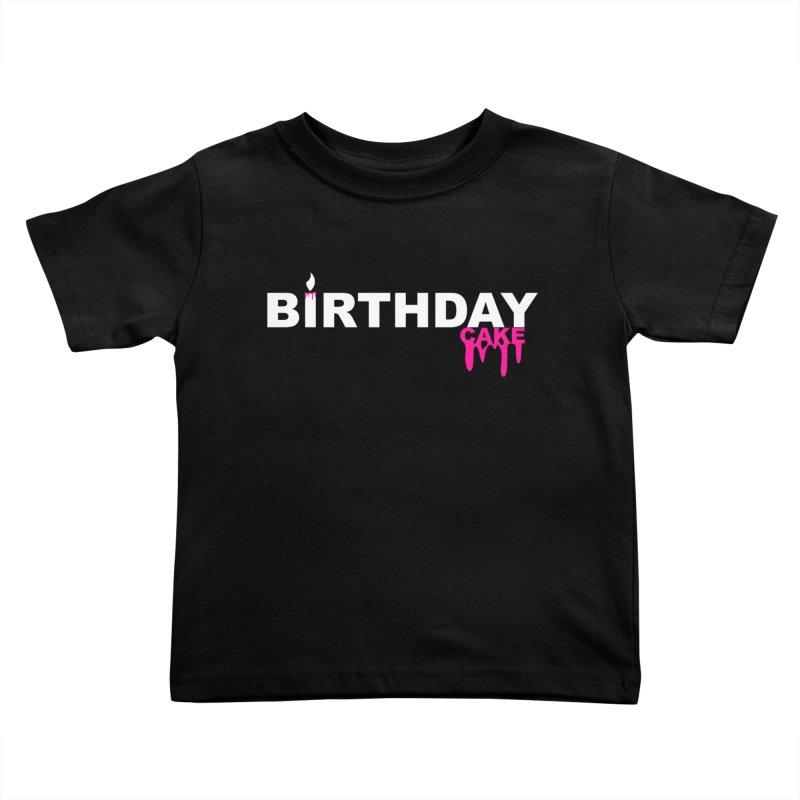 BIRTHDAY CAKE (Wht & Pnk) Kids Toddler T-Shirt by More Cake?