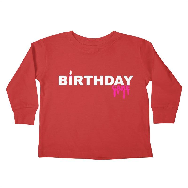 BIRTHDAY CAKE (Wht & Pnk) Kids Toddler Longsleeve T-Shirt by More Cake?