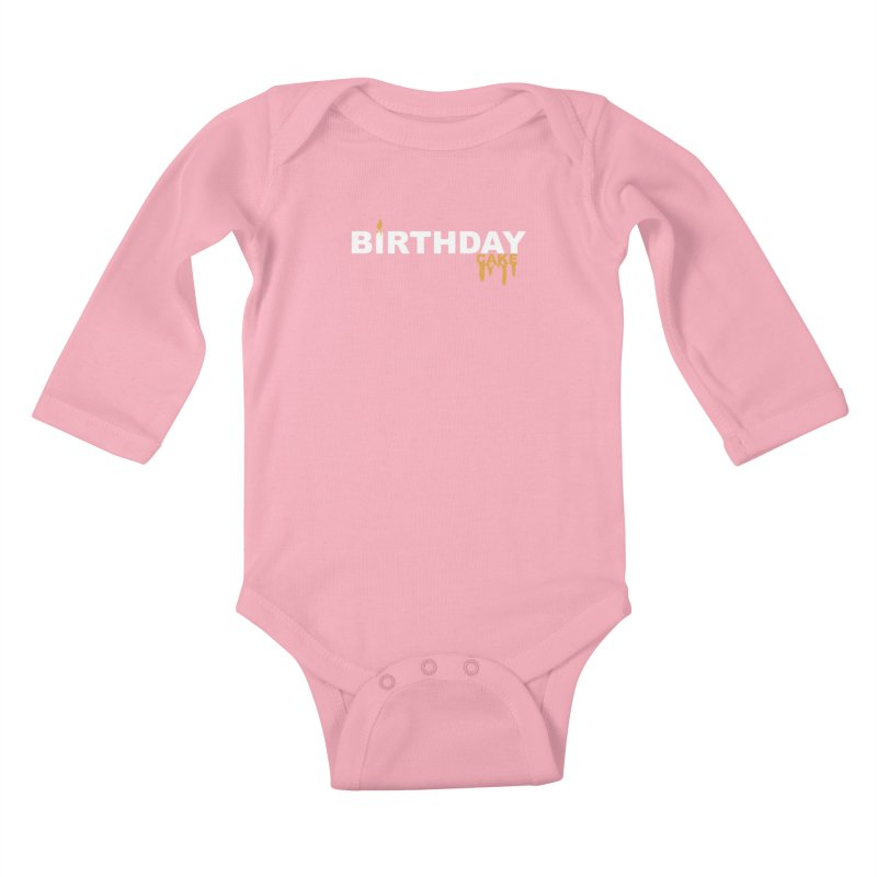 BIRTHDAY CAKE (Wht & Gld) Kids Baby Longsleeve Bodysuit by More Cake?
